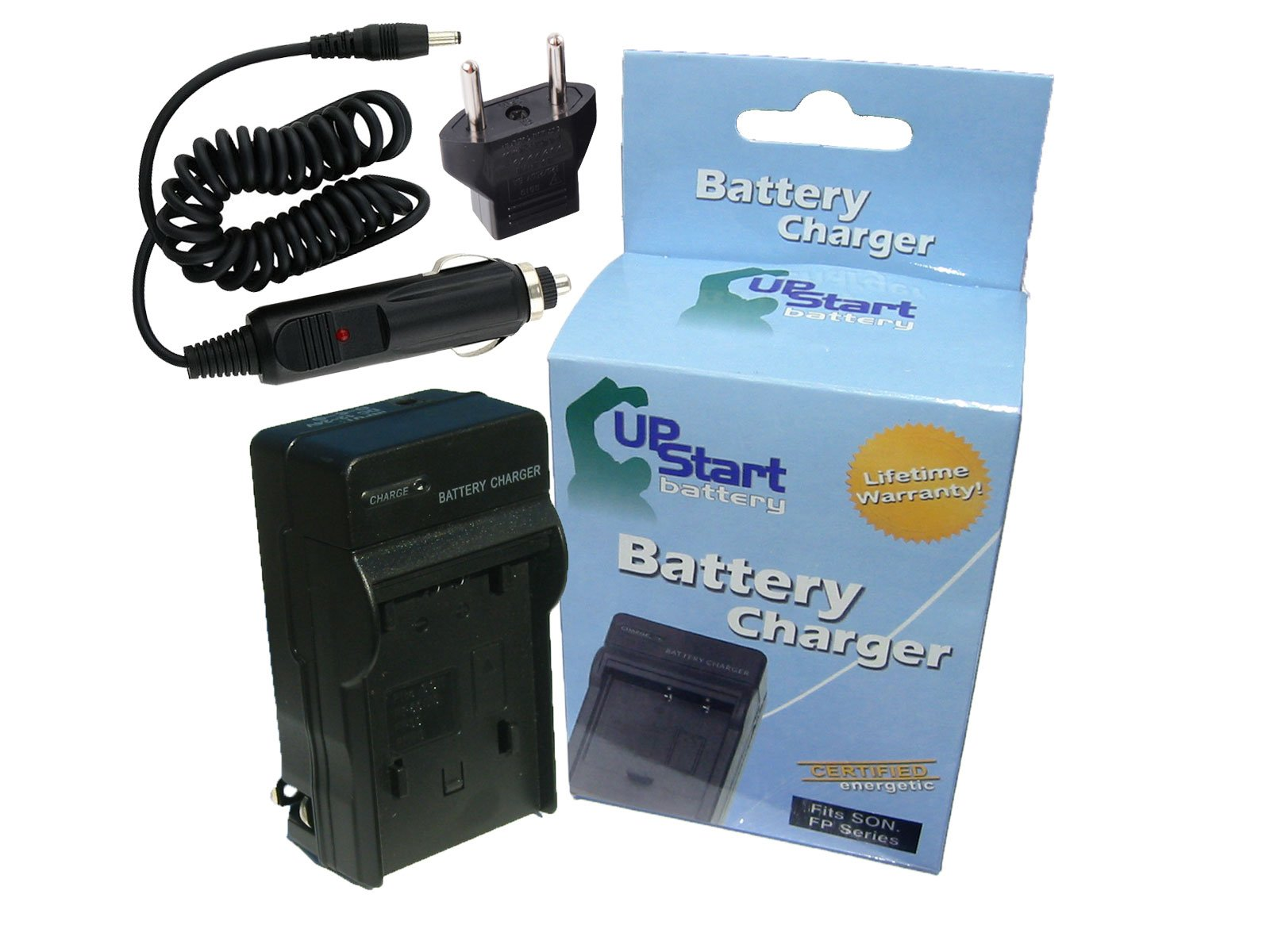 Replacement for Sony Cybershot DSC-W150 Charger with Car Plug & EU Adapter - Compatible with Sony NP-BG1 Digital Camera Chargers (100-240V)