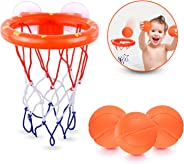 BRITENWAY Fun Basketball Hoop & Balls Playset for Little Boys & Girls   Bathtub Shooting Game for Kids & Toddlers   Suctions