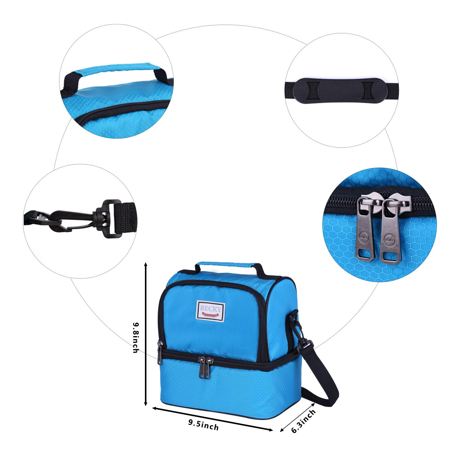 /… Waterproof Large Coole Tote Bag for Work//School//Picnic with Double Deck Spacious Compartments Detachable Shoulder Strap blue Becky lunch box Insulated Lunch Bag for Men /& Women