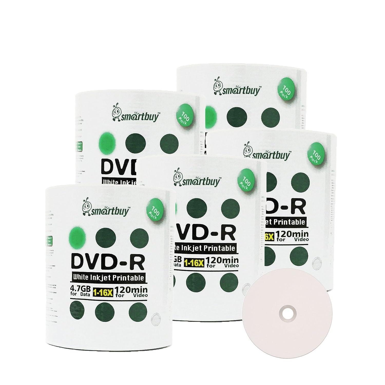 SmartBuy 500-disc 4.7 GB / 120min 16 x DVD - Rホワイトインクジェット印刷可能なハブ空白データ書き込み可能なメディアディスク B00R6TQ4LW
