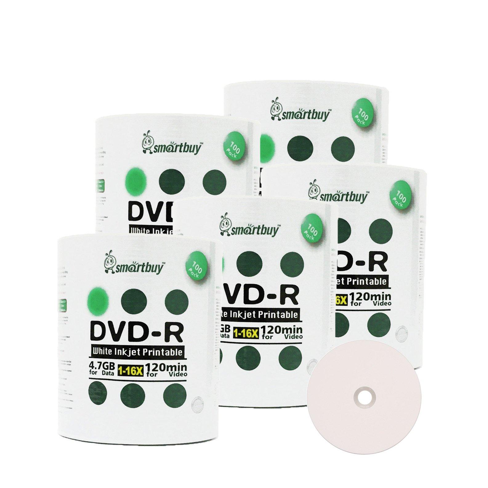 Smart Buy 500 Pack DVD-R 4.7gb 16x White Printable Inkjet Blank Media Record Disc, 500 Disc 500pk