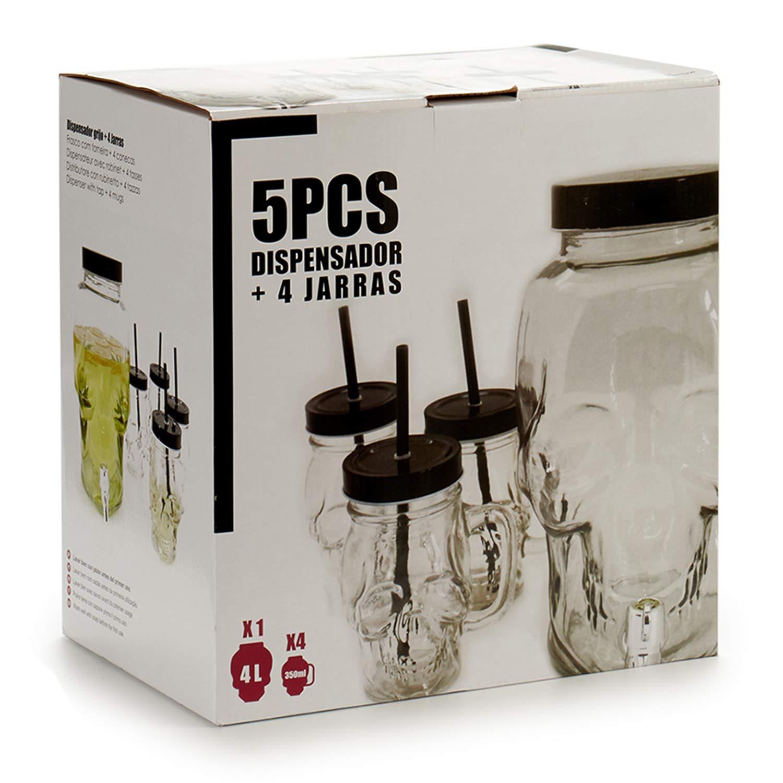 TU TENDENCIA UNICA Juego de cinco piezas; tarro dispensador de cuatro litros y cuatro jarras de 350ml con pajita. Tarro y jarras de cristal con forma de ...