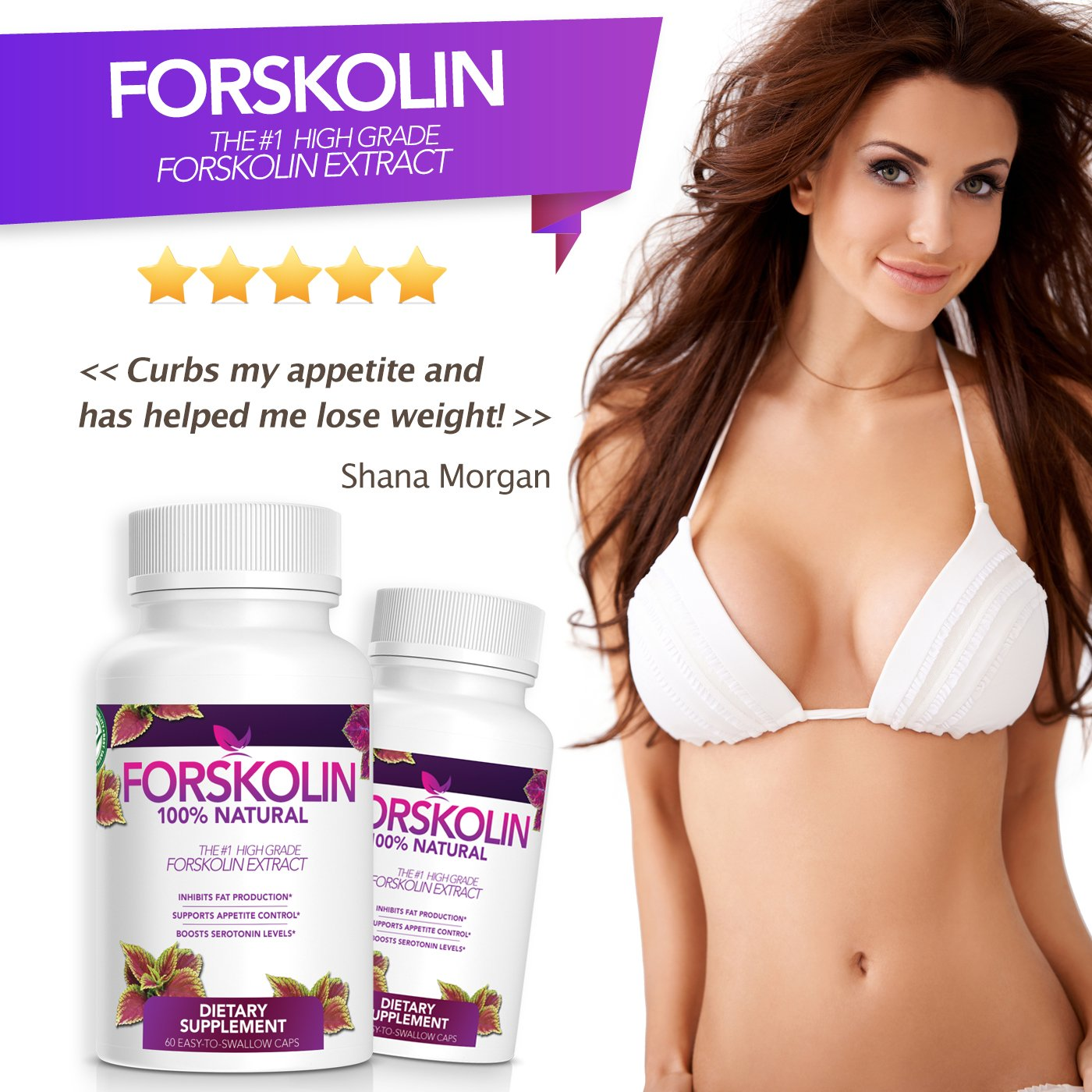 100 Pure Forskolin Extract – 1 Weight Loss Supplement – 1 Month Supply – Made in USA Quality Product – Natural Appetite Suppressant Weight Loss – Order Risk Free