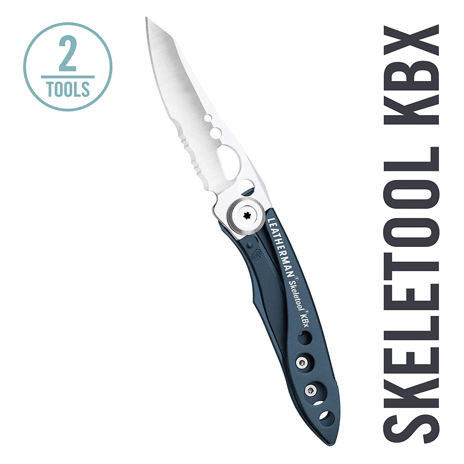 LEATHERMAN – Skeletool KBX Pocket Knife with Bottle Opener, Columbia Blue