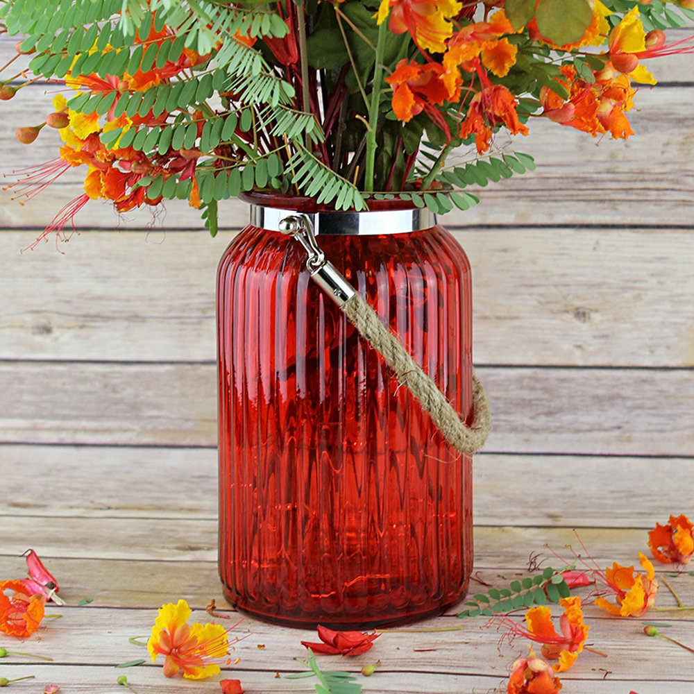 """Just Artifacts 7.5"""" H Glass Ribbed CylinderVasewith Rope Handle - Color: Red"""