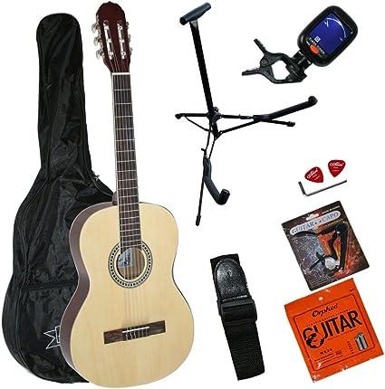 Santander 4/4 – Guitarra acústica (con funda Afinador correa Set ...
