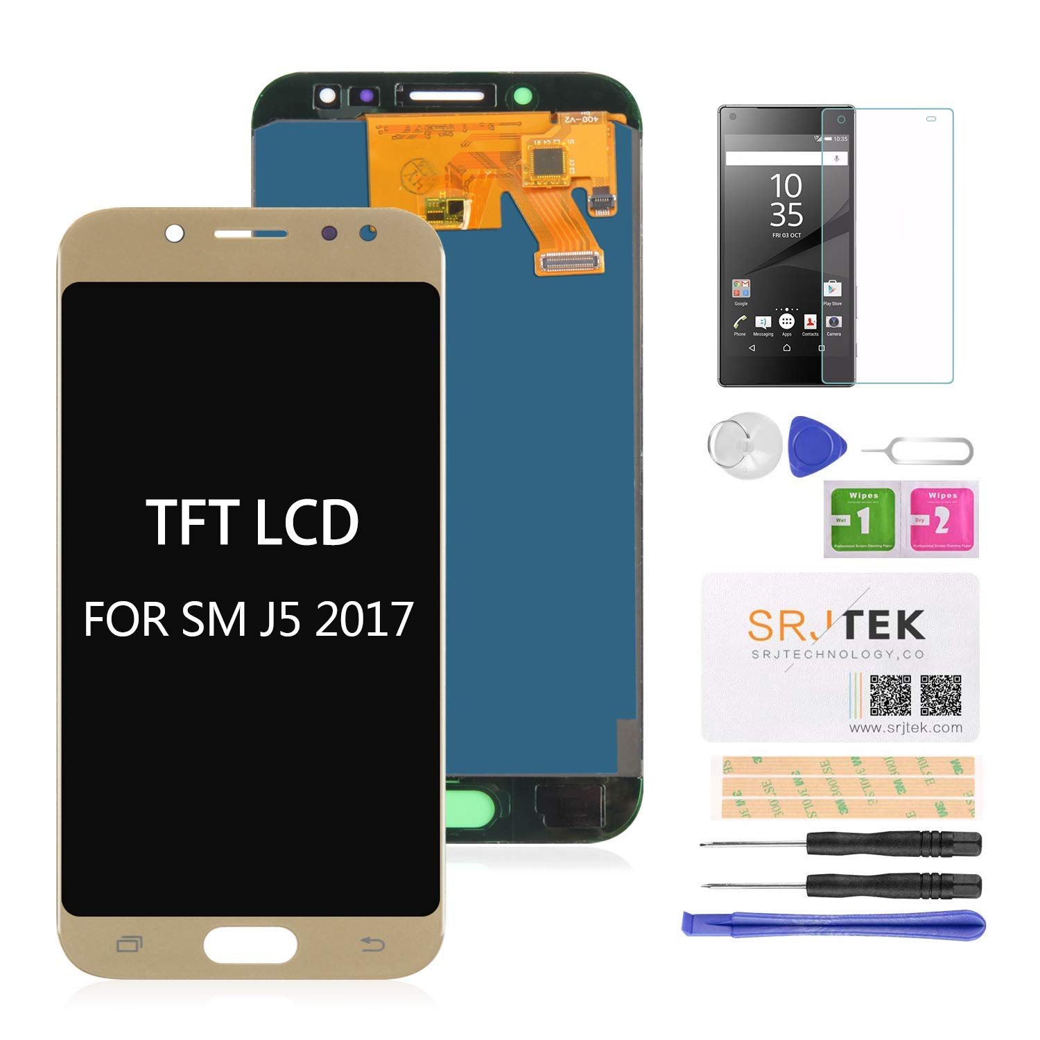 for Samsung Galaxy J5 Pro Screen Replacement-TFT LCD Screen for Samsung J5 2017 J530 J530F J530S J530K J530L J530FM J530Y J530YM Display Touch Digitizer Glass Assembly,(NOT AMOLED) Gold