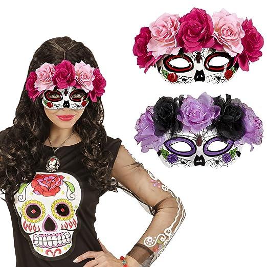Máscara Sugar Skull Careta La Catrina con rosas negro y violeta Mascarilla Halloween Máscara mexicana de muertos Antifaz Día de los muertos Cubre rostro de ...