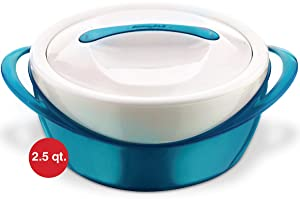 Pinnacle Casserole Dish - Large Soup and Salad Bowl - Insulated Serving Bowl With Lid (2.6 qt, Teal)