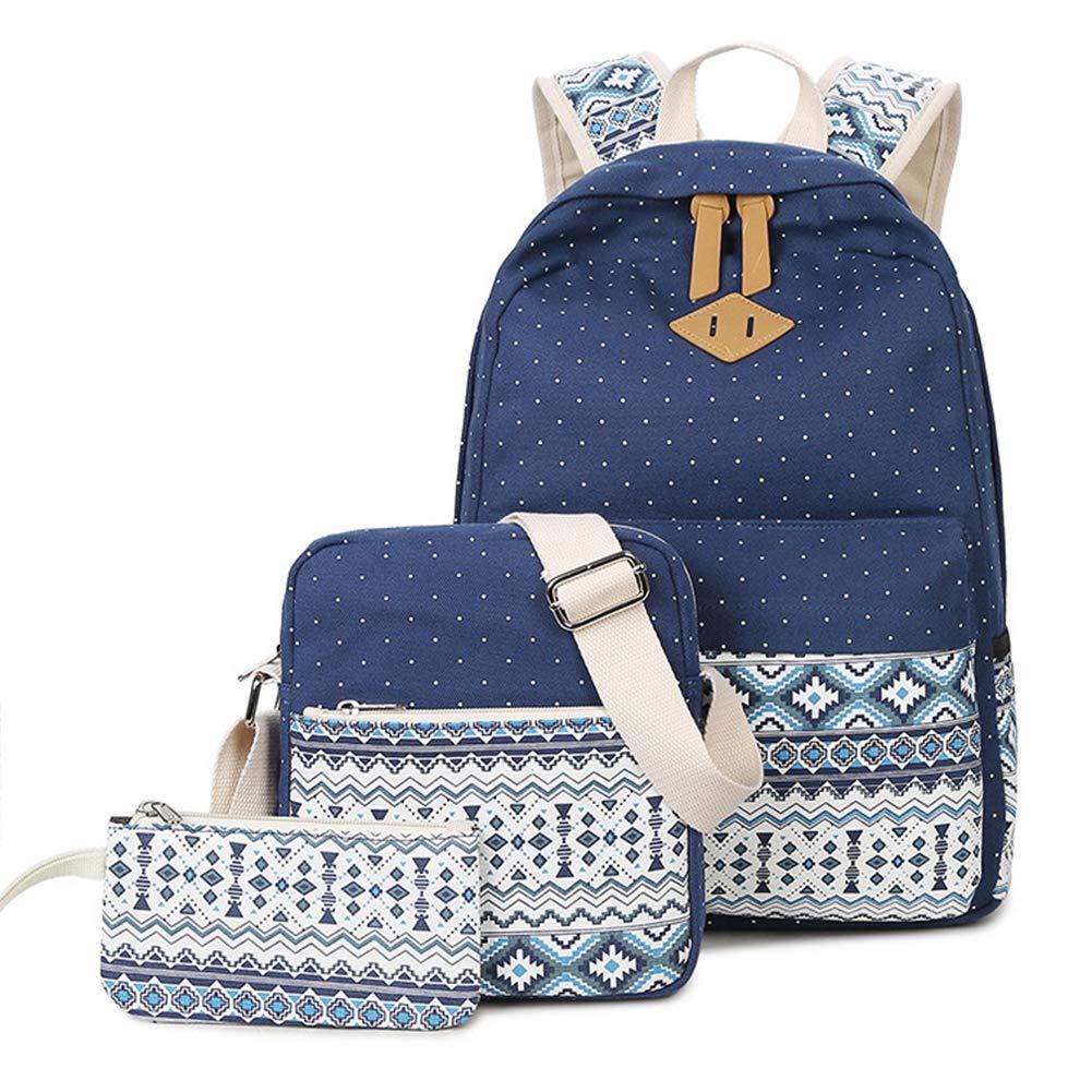 Dark bluee Backpack Girl Canvas Laptop Bag Backpack + Shoulder Bag + Coin Purse ThreePiece Large Capacity MultiFunction Student Bag Travel Backpack