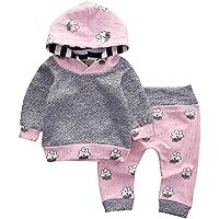 QinMM Niedlich Babykleidung, Kleinkind Säuglings Baby Kleidung stellte Gestreifte Karikatur mit Kapuze Oberseiten + Hosen Ausstattung EIN Outfits Set (0-18Monat)