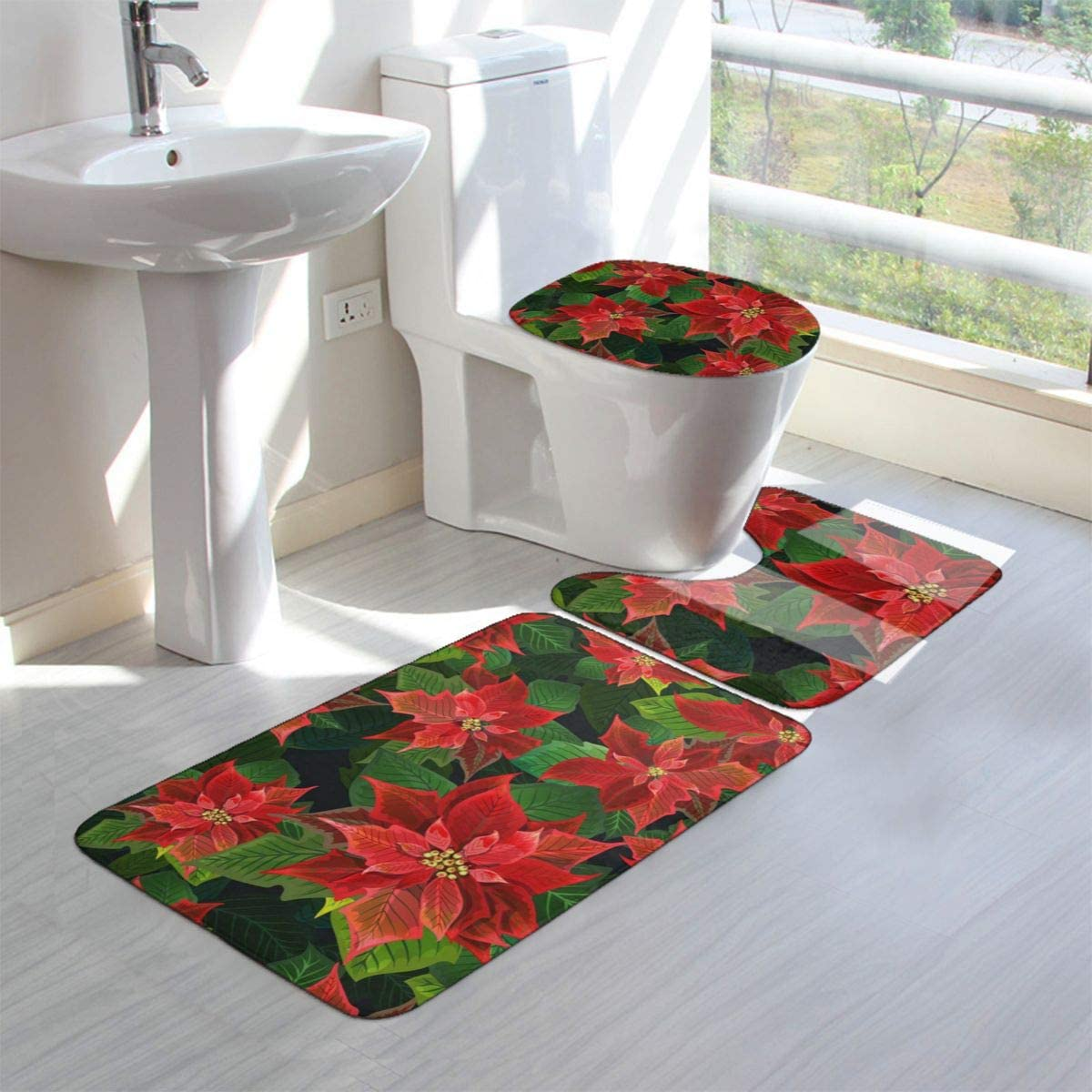 """16/""""x24/"""" WINTER CHRISTMAS FLOWERS,POINSETTIA,red,BH Microfiber Quick Drying Mat"""