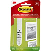 Command Picture & Frame Hanging Strips Heavy Duty, Large, White, Holds 16 lbs, 4-Packs, 6-Pairs/Pack (24 Pairs Total…