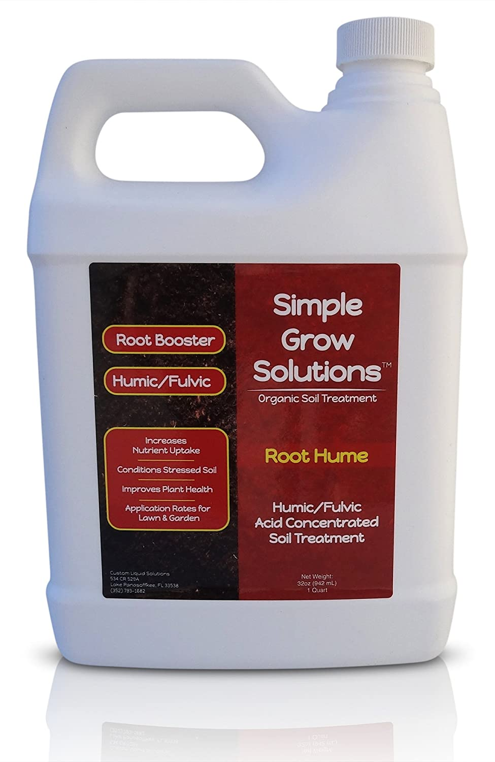 Raw Organic Humic Fulvic Acid- Liquid Carbon - Root Hume- Simple Grow Solutions- Natural Lawn & Garden Treatment- Nutrient Plant Food Enhancer- Concentrated Turf Grass Soil Conditioner (32 Ounce)