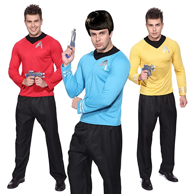 1960s Men's Costumes 60s Star Trek Original Uniform Suit Captain Kirk Spock Scotty Shirt Top Costume $9.99 AT vintagedancer.com