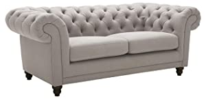 "Stone & Beam Bradbury Chesterfield Tufted Loveseat Sofa Couch, 78.7""W, Slate"