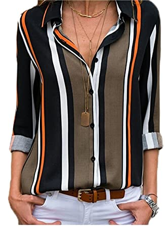 9bb1984a4b87a3 Dearlovers Womens Striped Shirts Loose Long Sleeve Button Down Blouses Tops  Black S