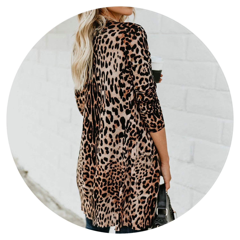 Fashion Leopard Print Long Cardigan Women Casual Button Sweater Streetwear Thin Outerwear Coat