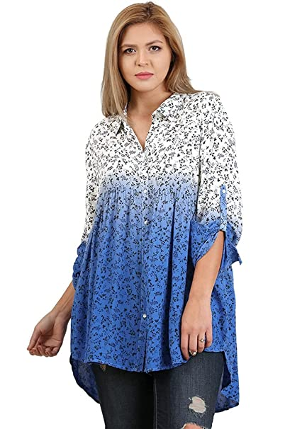 6ce5ba74990604 Umgee Women s Ombre Floral Button up Tunic Top with Convertible Sleeves at  Amazon Women s Clothing store
