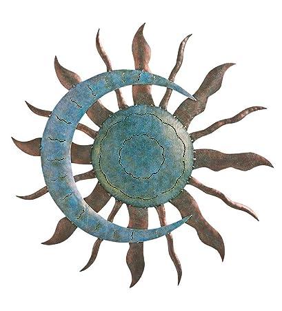 Indoor Outdoor Recycled Metal Celestial Moon And Sun Wall Art Sculpture,  28u0026quot; Diameter X