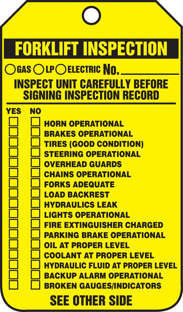 5.75 Length x 3.25 Width x 0.010 Thickness Accuform TRS336CTM PF-Cardstock Forklift Status Tag Black on Yellow LegendForklift Inspection LegendForklift Inspection 5.75 Length x 3.25 Width x 0.010 Thickness Pack of 5