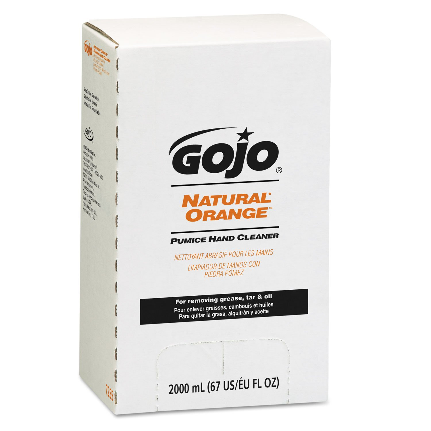 GOJO 7255 NATURAL ORANGE Pumice Hand Cleaner Refill, Citrus Scent, 2000mL, 4/Carton