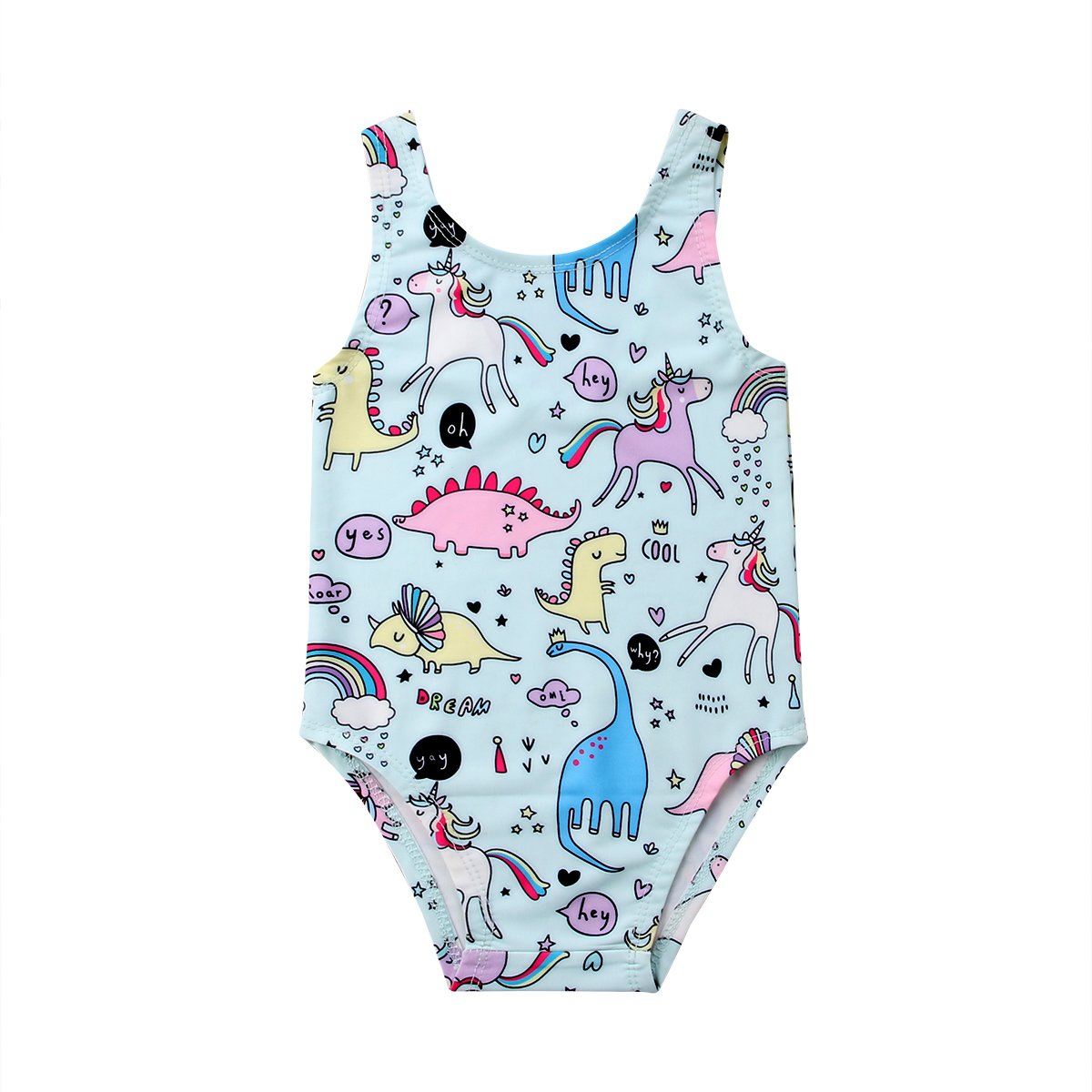 Newborn Baby Girl Unicorn Swimsuit Straps Bathing Suit Bikini Dinosaur Swimwear for Baby Girls Beach Wear