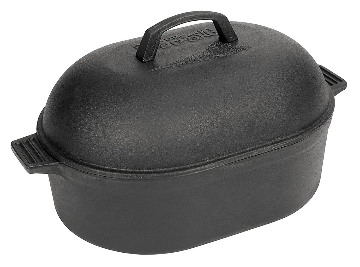 Bayou Classic 12-Quart Cast-Iron Oval Roaster with Domed Lid
