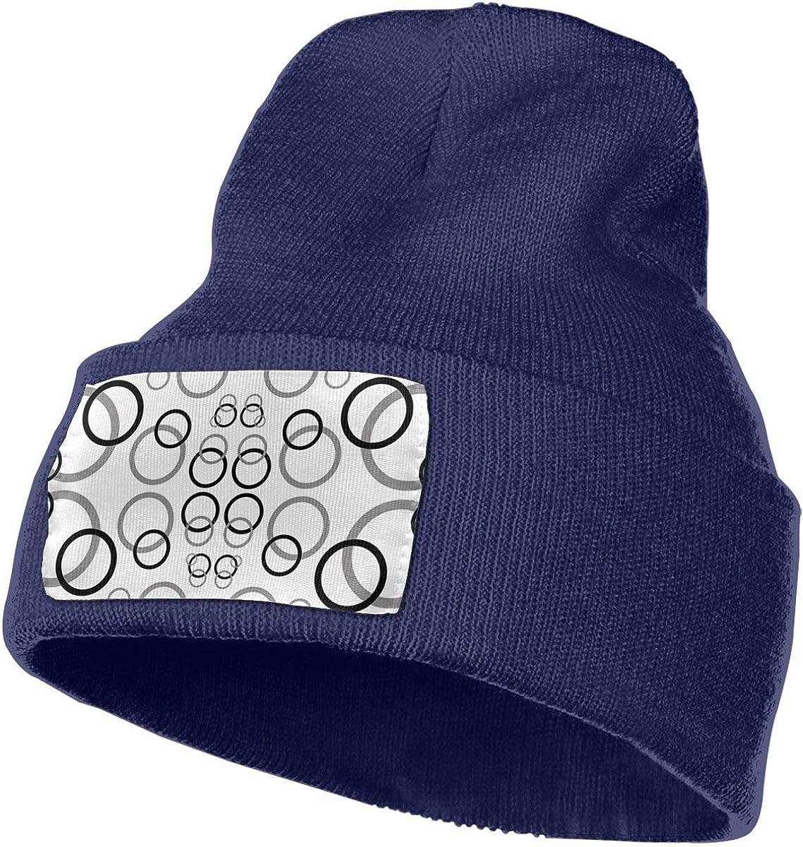 ONHIM Black Grey Circles Men /& Women Winter Warm Knit Beanie Hat Slouchy Rollup Hats