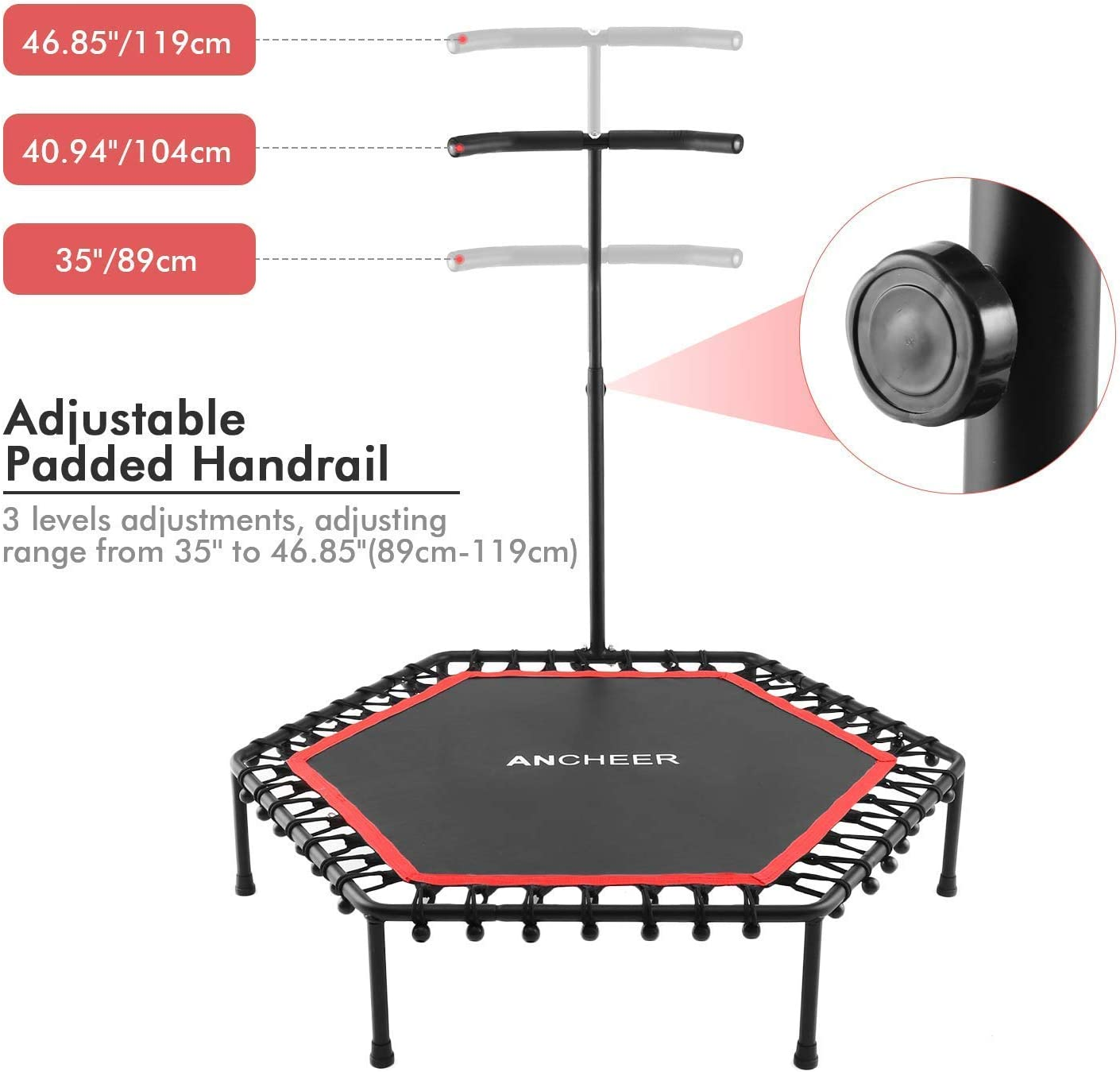 Red Trampolines Trainer with Adjustable Handle Bar for Indoor//Outdoor//Garden//Yoga Workout Cardio Exercise ANCHEER Mini Trampoline 50 Rebounder for Adults Kids Fitness