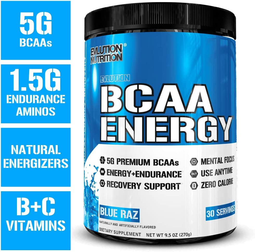 Evlution Nutrition BCAA Energy – High Performance Amino Acid Supplement for Anytime Energy, Muscle Building, Recovery and Endurance, Pre Workout, Post Workout Blue Raz, 30 Servings