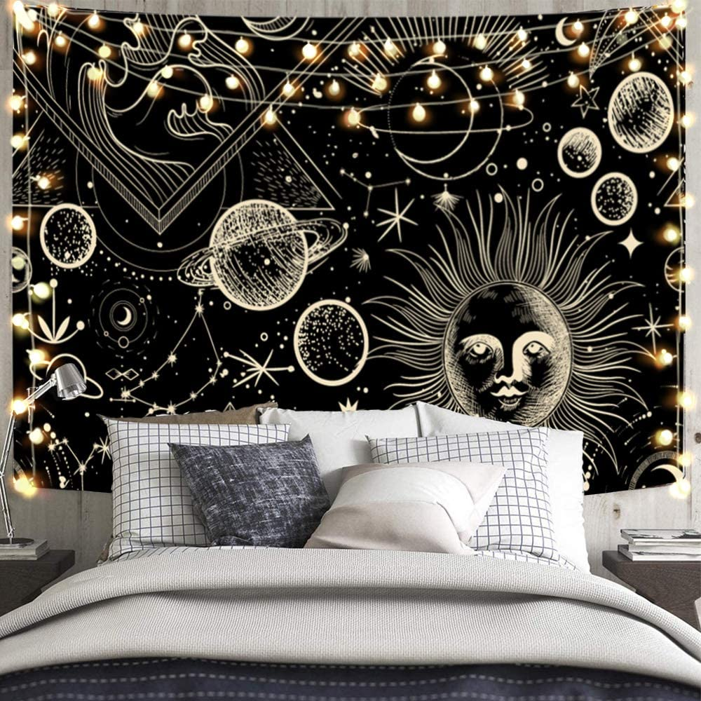 GOOX Sun and Planet Tapestry Sun with Moon Star Space Tapestry Psychedelic Tapestry Black and Gold Mystic Tapestry Wall Hanging for Room Home Decor (70.9ʺ × 92.5ʺ)