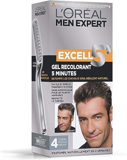 LOréal Men Expert Excell 5 Gel-Crème Recolorant pour Homme, Coloration des Cheveux Gris & Blancs, Sans Ammoniaque, Châtain Profond Naturel (4)