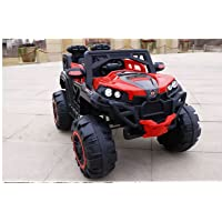 Mywholesale Toys 4X4 Wheel Drive 12V Battery Monster Truck , 2.4Ghz Parental Remote, Openable Doors, Two Seats, Power Display, Mp3 USB Heavy Duty Ride On Jeep for Kids, Red