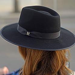 462250251ef642 RACEU ATELIER Black Nuba Hat - Wide Brim Fedora Hat - 100% Wool Felt -