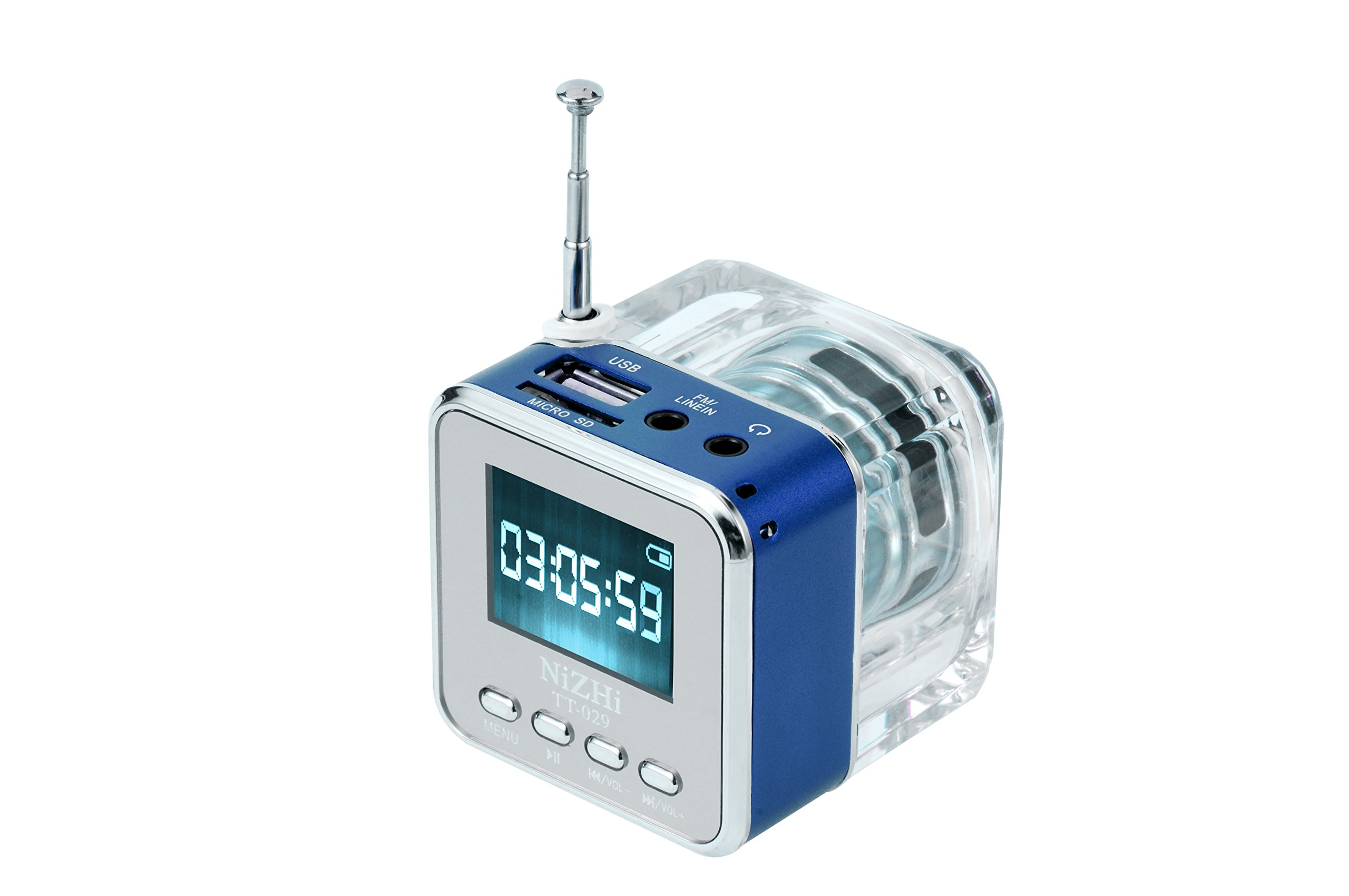 TT029 Portable Mini Music Speaker Support SD/TF Card With Alarm Clock FM Radio And LCD Screen Synchronous lyrics(blue)