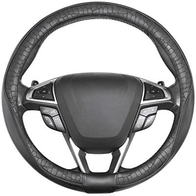 SEG Direct Car Steering Wheel Cover Universal Standard-Size 14 1/2''-15'' Leather with Man-Made Crocodile Design Black: Automotive