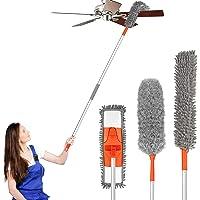 Mikrofiberdammtrasa för rengöring med förlängningsstång, spindelnät dammvippa böjbar tvättbar fjäderdammvippa för…