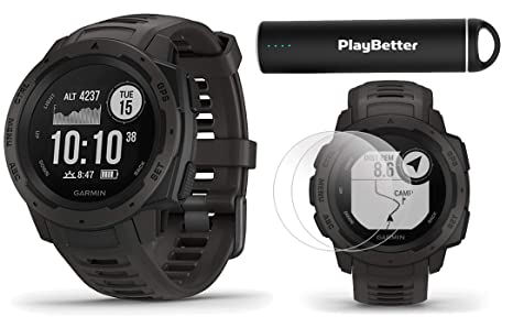 Garmin Instinct (Graphite) Outdoor GPS Watch Power Bundle   with HD Screen  Protector Film Pack & PlayBetter Portable Charger   Rugged, Waterproof  