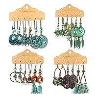 Vintage Tassel Earrings Set Retro National Style Hollow Earrings Boho Leaf Sunflower Wing Beaded Teardrop Long Dangle Earrings for Women Girls