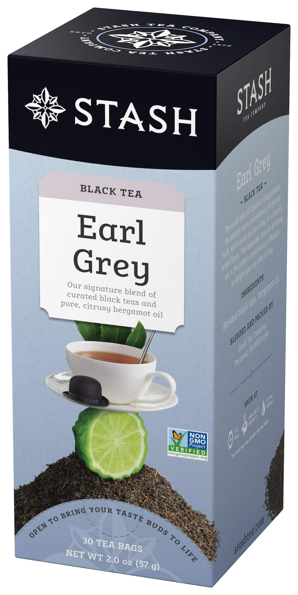 Stash Tea Earl Grey Black Tea, 30 Count Tea Bags in Foil (Pack of 6) Full Caffeine Tea, Black Tea with Bergamot, Enjoy Hot or Iced