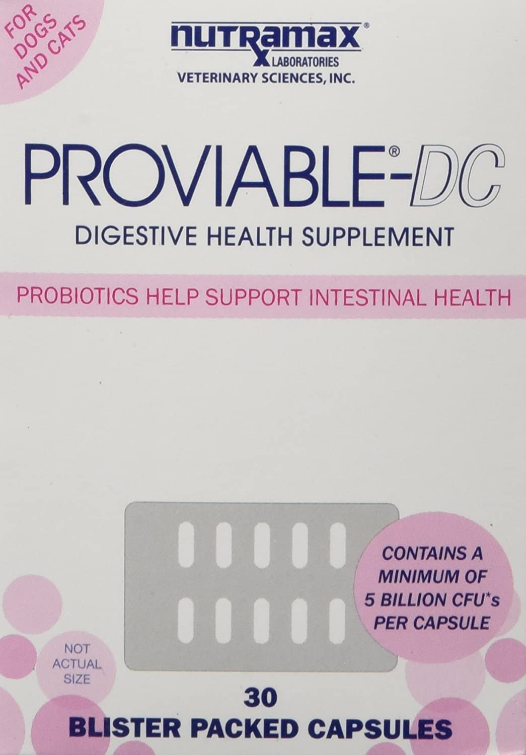 Nutramax Proviable DC Capsules for Cats and Dogs 30 Count