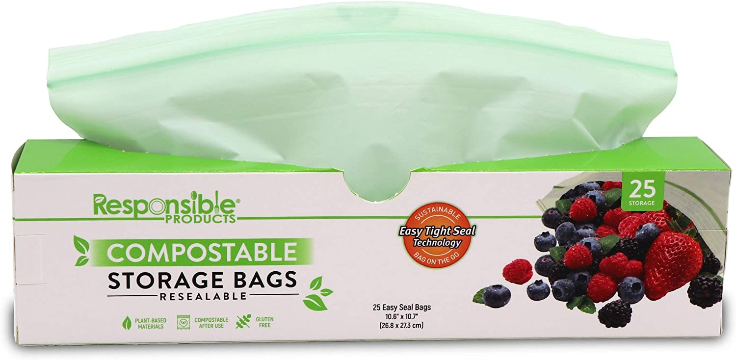 Responsible Products Home Compostable GALLON Zip Bag, Resealable Extra Strength Biodegradable Bags, Plant-Based Freezer-Safe (25 Pack)