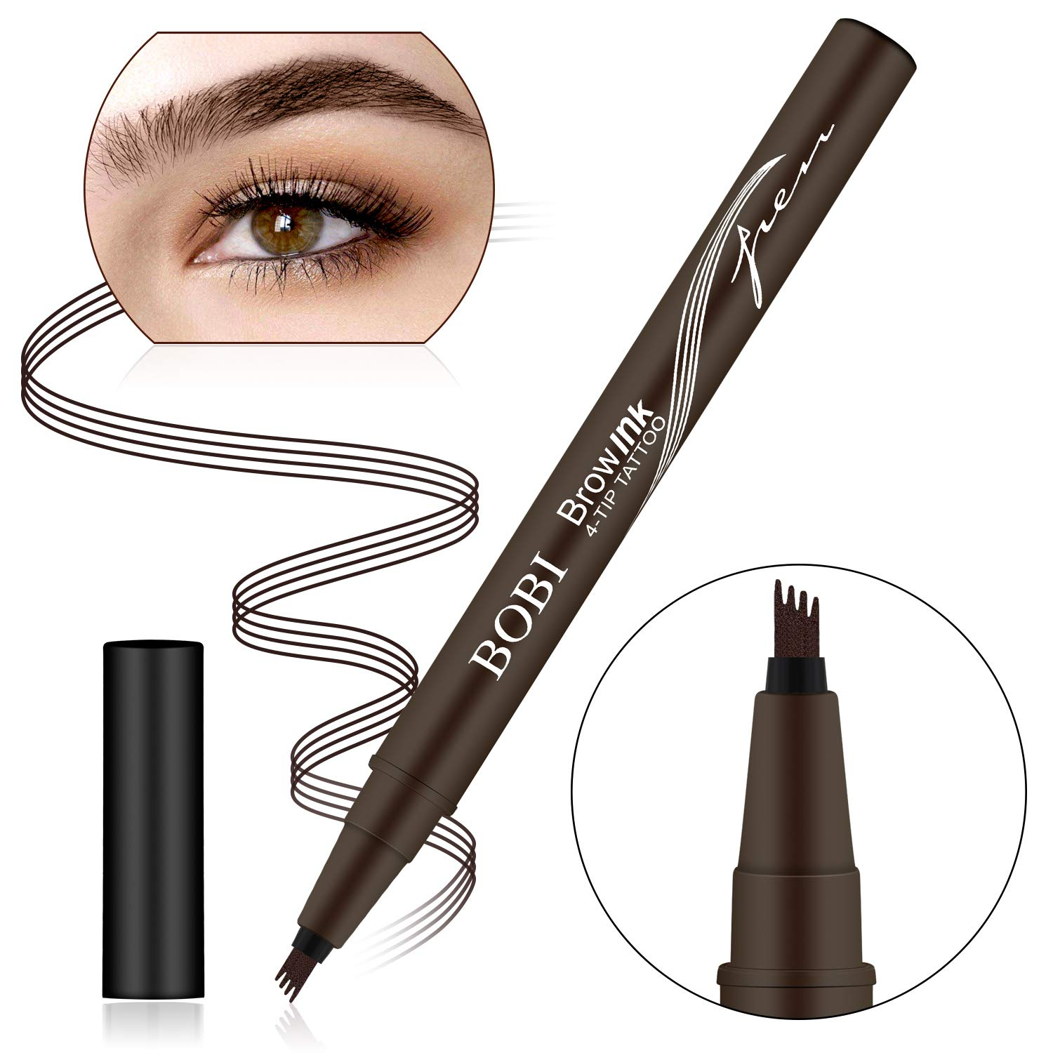 Eyebrow Tattoo Pen, Microblading Eyebrow Pen, Waterproof Eyebrow Pencil for Professional Makeup, Draws Natural Brow Hairs & Fills in Sparse Areas & Gaps, Lasting eye makeup (DEEP BROWN)
