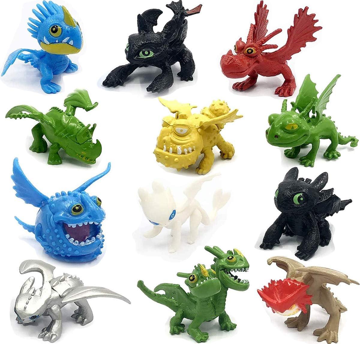 Amazon Com Dragon Toys Mini Figures Action Figures 12 Pcs How To Train Your Dragon 12pcs Set 5 6 5cm Pvc Action Figures Toy Doll Night Fury Toothless Dragon Cake Topper Toys Games