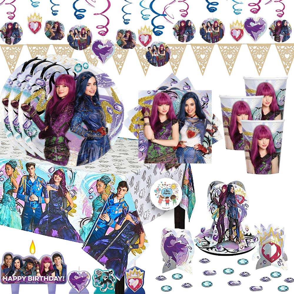 Mega Descendants 2 Birthday Party Supplies Pack With Decorations For 16 With Plates, Cups, Napkins, Tablecover, Table Decorating Kit, Candles, Balloons, Swirls, Heart Pennant, and Exclusive Pin