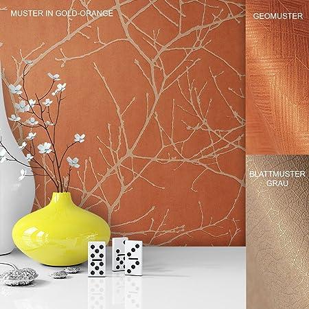Fleece Vinyl Wallpaper with Fine Design, Unusual Tree Pattern Orange ...