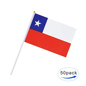 amazon com 50 pack hand held chile flag chilean flag stick flag