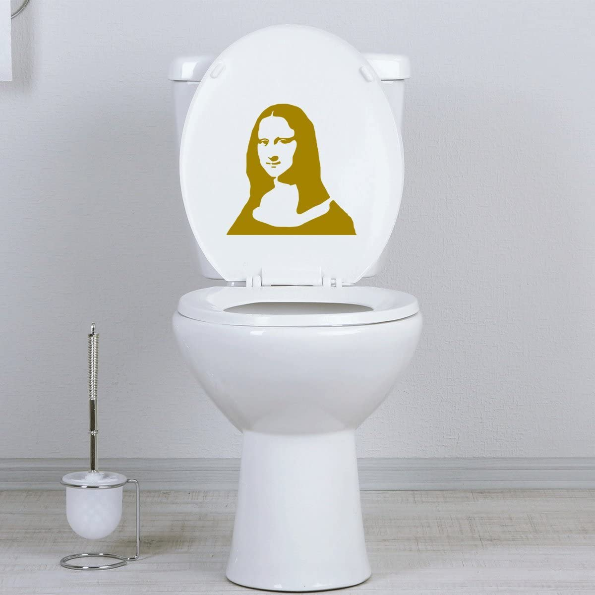 StickAny Bathroom Decal Series Mona Lisa Sticker for Toilet Bowl Black Seat Bath