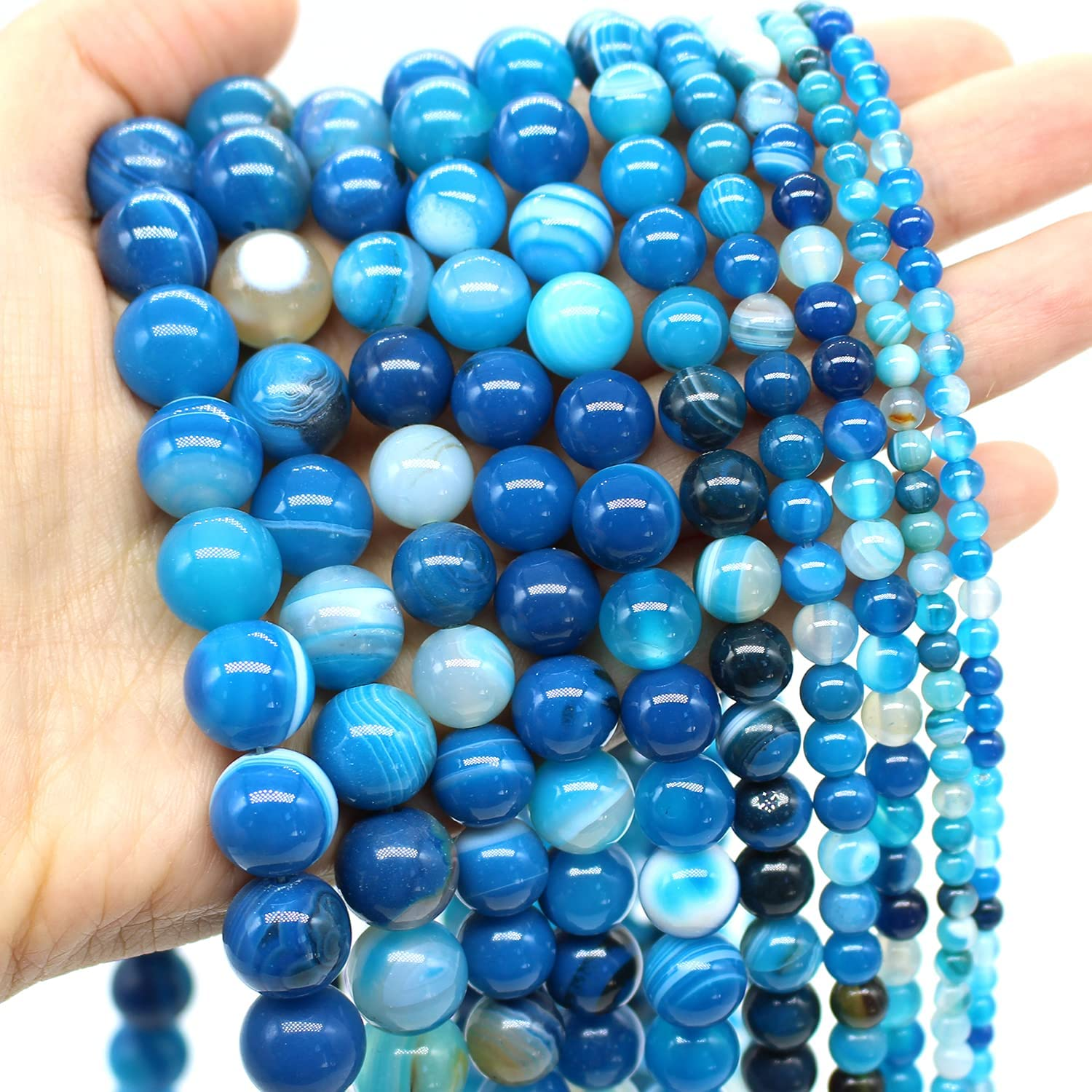 """8mm Round Blue Mix Color Amazomite Loose Beads for Jewelry Making DIY Strand 15/"""""""